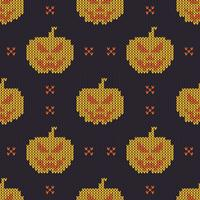 Seamless Knitting Texture with cute pumpkins vector