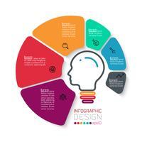 Seis círculos con infografías de iconos de negocios