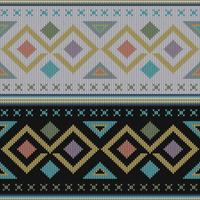 Geometric colorful ethnic knitted pattern vector