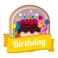 colorful birthday badge with cake and party hats