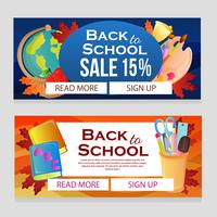 back to school sale banner with school items