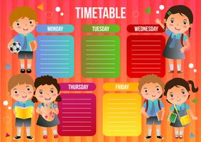 school time table with school kids