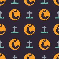 Cute halloween seamless pattern with bats and gravestone