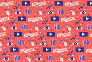 hand drawn social media video pattern background vector