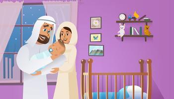 Feliz familia árabe con bebé