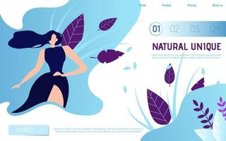 Natural Unique Beauty Landing Page vector