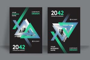 Modern Triangular City Background Business Book Cover Design Template