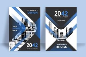 Modern Blue City Background Business Book Cover Design Template