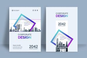 Blue and Purple Square City Background Business Book Cover Design Template