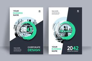 Layered Green Circular City Background Business Book Cover Design Template