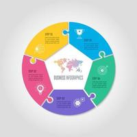 affärsidé för infographic design med 5 alternativ, delar eller processer.