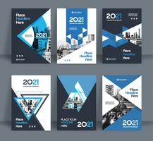 Set of Blue City Background Business Book Cover Design Template