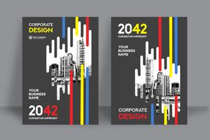 Veelkleurige stad achtergrond ontwerpsjabloon voor zakelijke boekomslag
