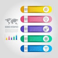conceito de negócio de design infográfico com 5 opções, partes ou processos.