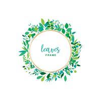 Cadre floral avec feuilles vertes