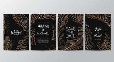 Premium gyllene lyxigt bröllopinbjudan set