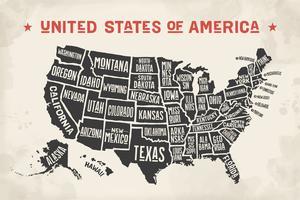 Affichekaart Verenigde Staten van Amerika met staatsnamen