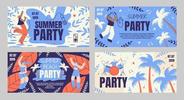 Summer Beach Party Banner Set vector