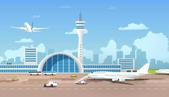 Modern Airport Terminal and Runaway vector