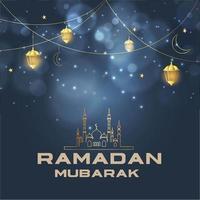 Religious Islamic Ramadan Mubarak Greeting  vector