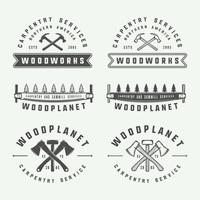 Etiquetas de marcenaria de carpintaria vintage