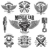 Set of vintage monochrome car repair emblems