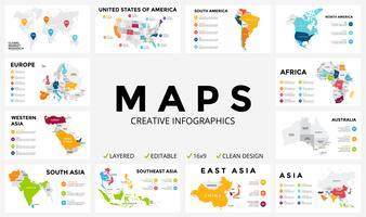 Conjunto de infográfico do mapa Marketing de negócios global