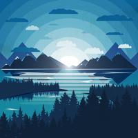Nord landskapsillustration med skog och sjö