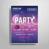 Night party Pink vertical flyer sample vector