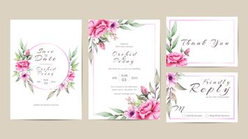 Wedding Invitation Template Set of Watercolor Flowers