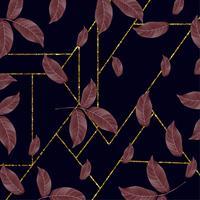 Diseño floral moderno del fondo del marco de oro