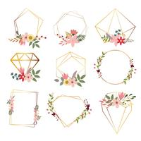 set di cornici floreali geometriche moderne