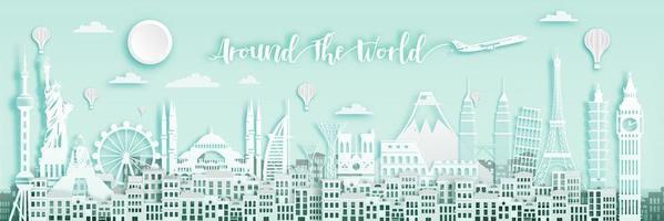 White Around The World  Banner  vector