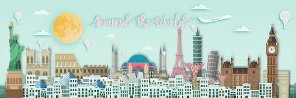 All Around The World Banner vector