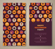 Halloween party invitation with holiday flat icons in circles