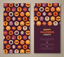 Convite para festa de Halloween com ícones plana de férias em círculos