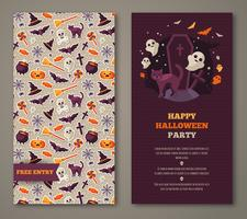 Halloween party invitation with black cat, grave and pattern