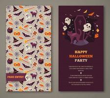 Convite para festa de Halloween com gato preto, sepultura e padrão