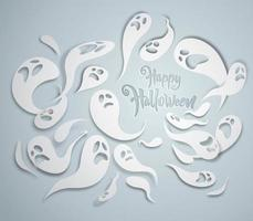 Witte griezelige geesten wenskaart
