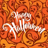 Happy Halloween lettering with ghost pattern