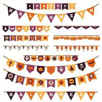 Halloween Flag Garland Set in vlakke stijl