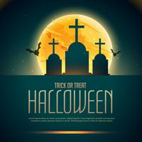 Halloween poster with graves and flying bats