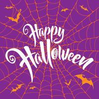 Letras de feliz halloween con patrón de tela de araña