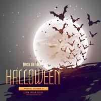 Imagem de Halloween com morcegos voando na frente da lua