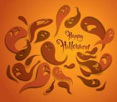 Cartolina d'auguri di fantasmi spettrali arancione.