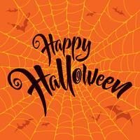 Iscrizione di Halloween felice con motivo a ragnatela