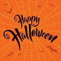 Happy Halloween lettering with spiderweb pattern