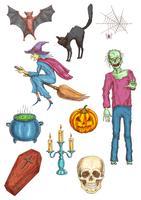 Halloween horror partij elementen en pictogrammen
