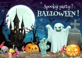 Skrämmande Halloween-fest på kyrkogårdsmåne och spöke