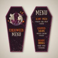 Menu di Halloween Design a forma di bara